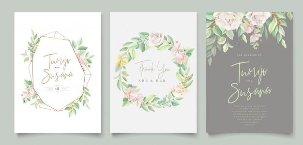 Hermosa tarjeta de invitación de boda floral suave y hojas vector gratuito