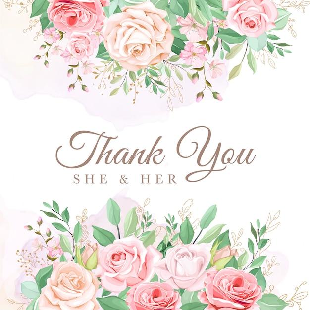 Hermosa tarjeta de invitación de boda floral vector gratuito