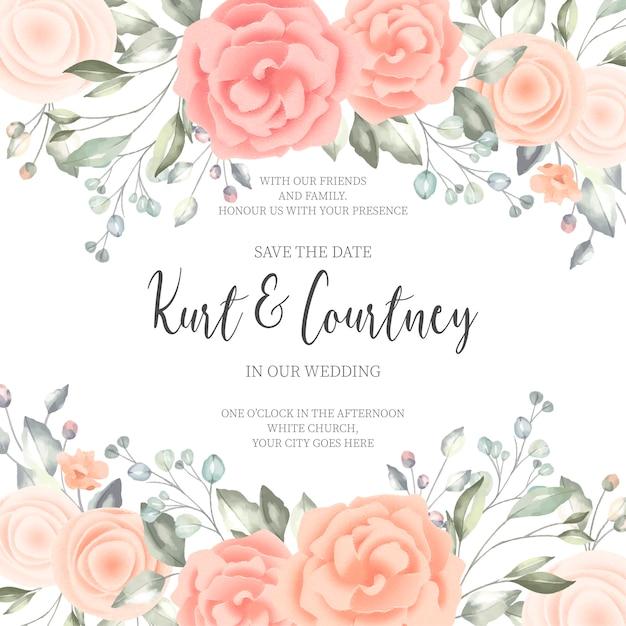 Hermosa tarjeta de invitación de boda vector gratuito