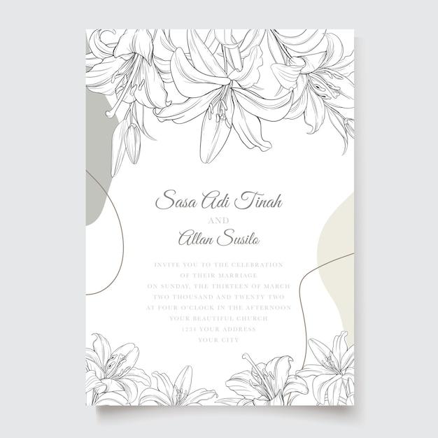 Hermosa tarjeta de invitación de flores de lirio floral vector gratuito
