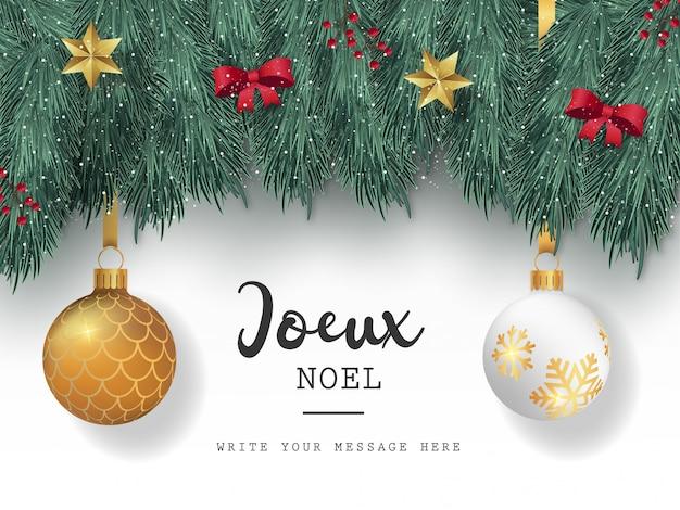 Hermosa tarjeta de navidad con elementos lindos vector gratuito