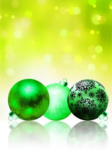 Hermosa tarjeta verde feliz navidad. Vector Premium