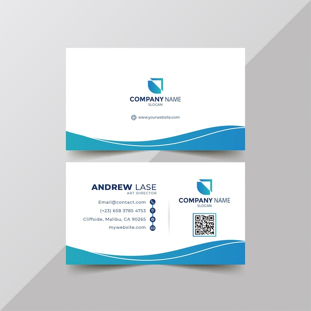 Hermosa tarjeta de visita azul moderna Vector Premium