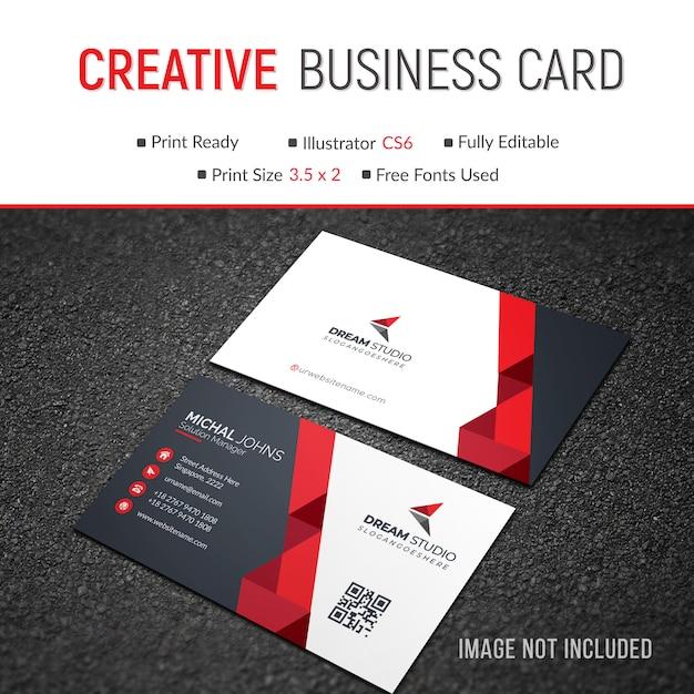 Hermosa tarjeta de visita roja moderna vector gratuito
