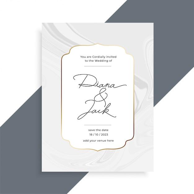 Hermosa textura de mármol plantilla de tarjeta de invitación de boda vector gratuito