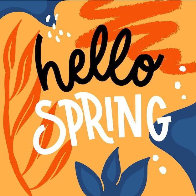 Hermosa tipografía hola primavera vector gratuito