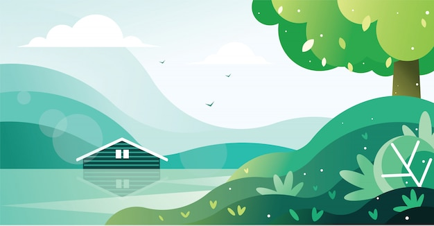 Hermosa vista de una casa junto al lago ilustración Vector Premium