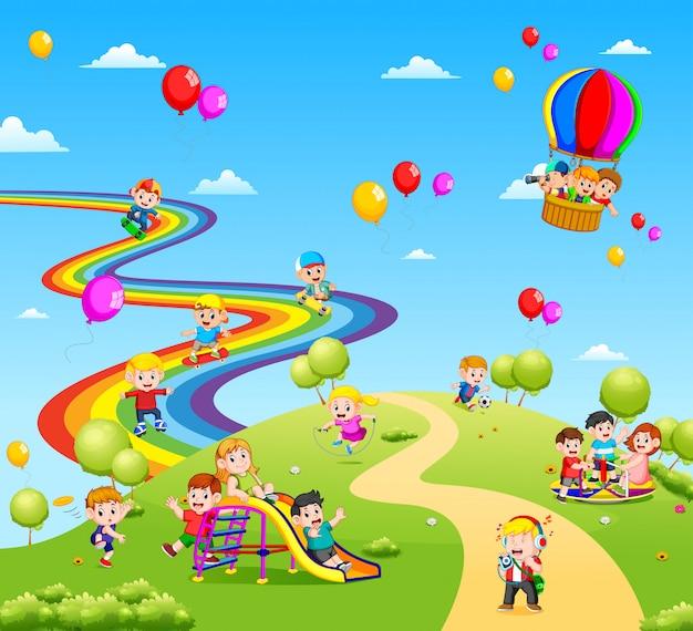 La hermosa vista llena de los niños. Vector Premium