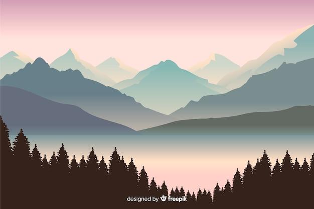 Hermosa vista con paisaje de montañas vector gratuito