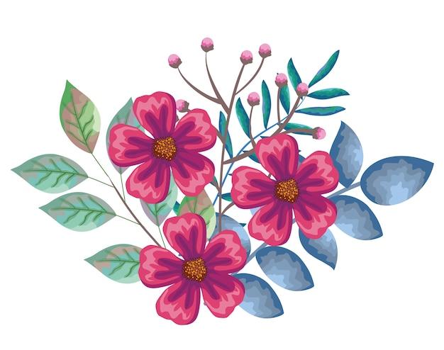 Hermosas Flores Y Decoración De Hojas Vector Premium