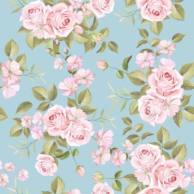 Hermosas flores y hojas de patrones sin fisuras Vector Premium