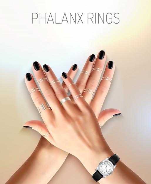 Hermosas manos femeninas con anillos de falange de plata de joyería de moda y ver ilustración vectorial realista vector gratuito