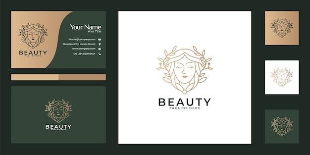 Hermosas mujeres naturaleza línea arte diseño de logotipo y tarjeta de visita. buen uso para el logotipo de salón de belleza, spa, yoga y moda. Vector Premium