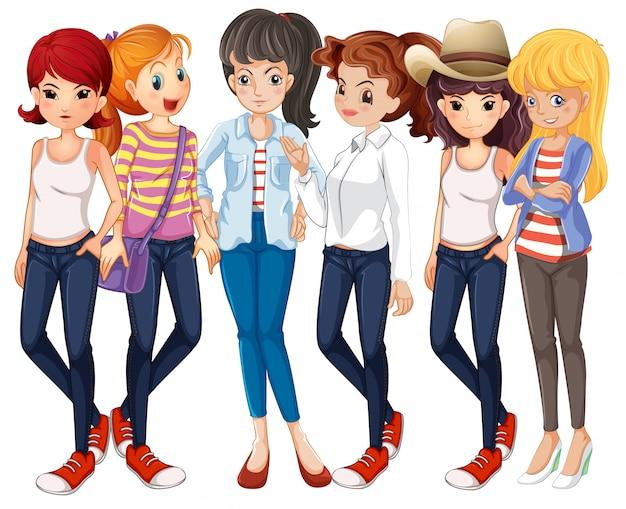 Hermosas mujeres vestidas con pantalones vaqueros vector gratuito