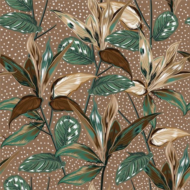Hermosas plantas botánicas vintage y patrones sin fisuras de bosque salvaje Vector Premium