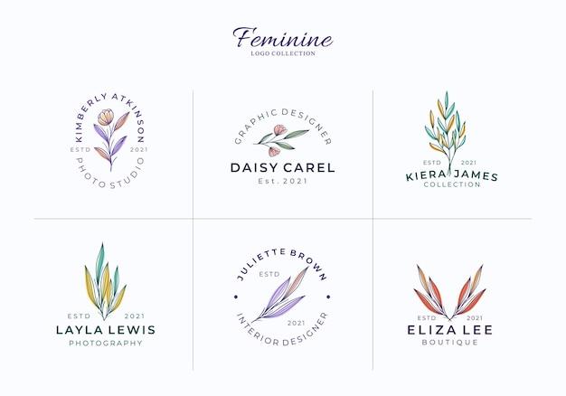 Hermosas plantillas de logotipos florales o botánicos femeninos Vector Premium