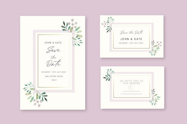 Hermosas tarjetas de invitación de boda floral vector gratuito