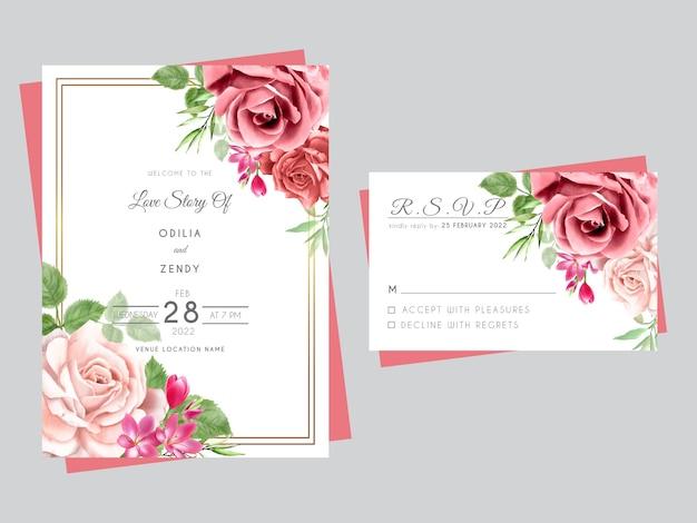 Hermosas tarjetas de invitación de boda con rosas rojas y rosadas dibujadas a mano Vector Premium