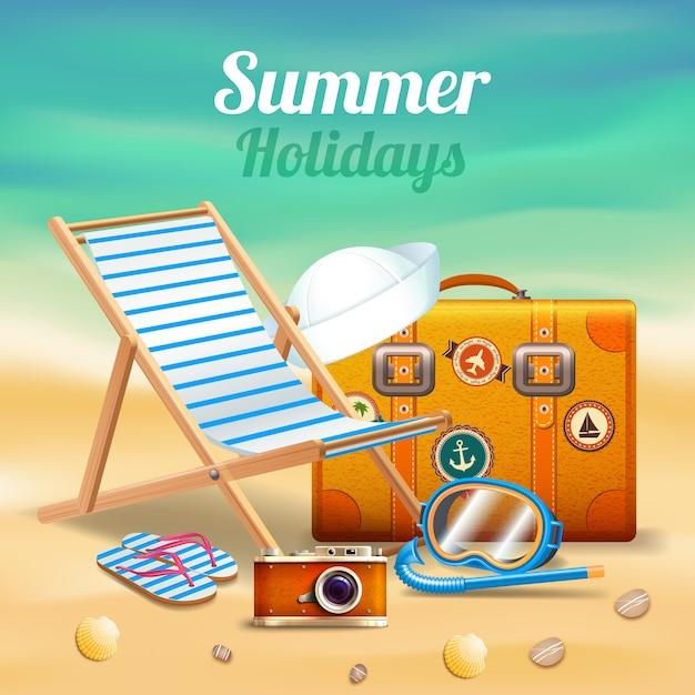 Hermosas vacaciones de verano composición realista vector gratuito