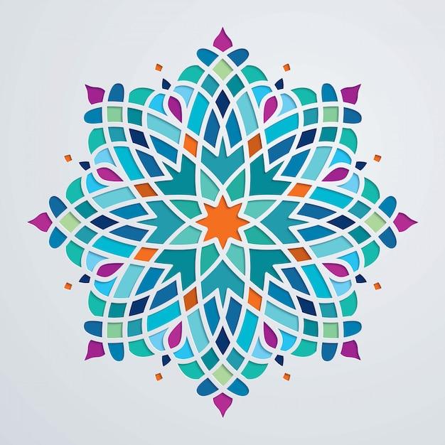 Hermoso adorno redondo colorido fondo árabe Vector Premium