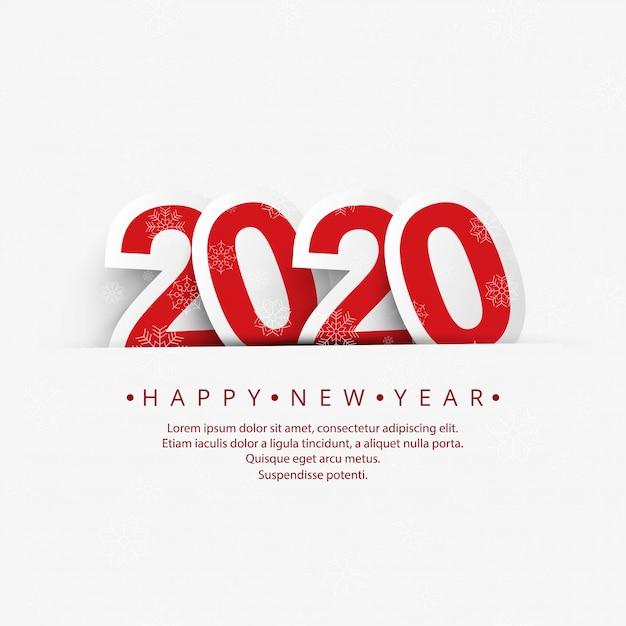 Hermoso año nuevo 2020 con celebración de copos de nieve vector gratuito
