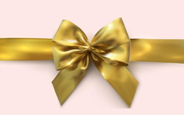 Hermoso arco dorado y cinta de oro horizontal aislado en blanco ...