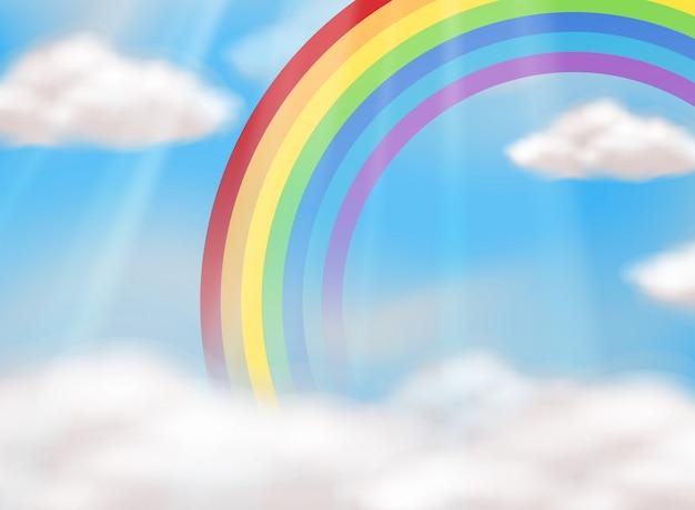 Un hermoso arco iris en el cielo vector gratuito