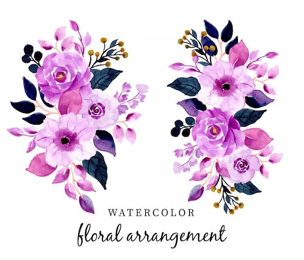 Hermoso Arreglo Floral Acuarela Púrpura Descargar Vectores