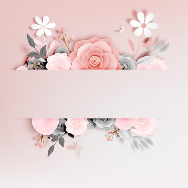 Hermoso arte floral en papel con ilustraciones de mariposas vectoriales. Vector Premium