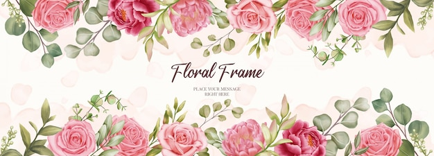 Hermoso banner para invitación de boda con fondo de marco floral Vector Premium