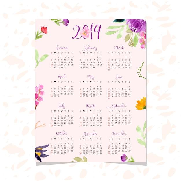 Calendario 2019 Rosa Portugues.Hermoso Calendario 2019 Con Fondo Floral Acuarela