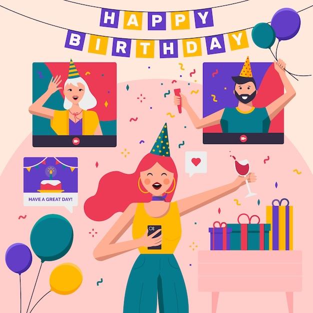 Hermoso concepto de feliz cumpleaños vector gratuito