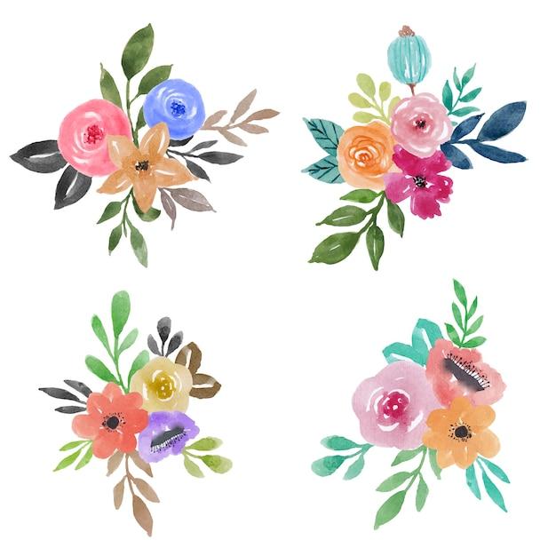 Hermoso Conjunto De Adornos Florales De Flores De Acuarela - Adornos-florales