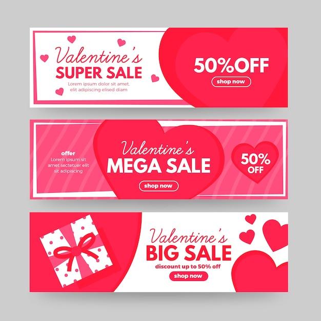 Hermoso conjunto de banners de venta de san valentín vector gratuito