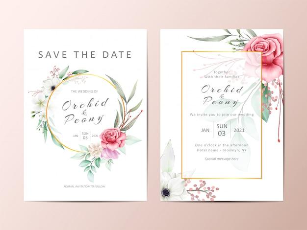 Hermoso conjunto de invitación de boda de rosas rojas y flores de anémona blanca Vector Premium