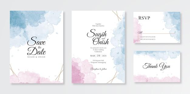 Hermoso conjunto de plantillas de invitación de boda con toques de acuarela Vector Premium