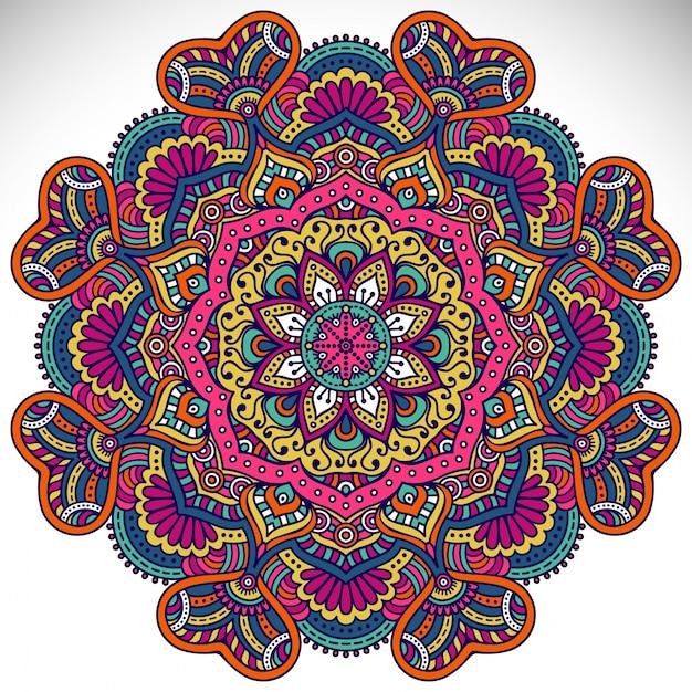 Hermoso dise o de mandala colorido descargar vectores for Disenos de mandalas