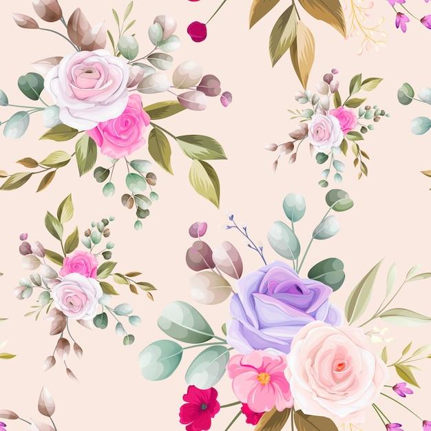 Hermoso diseño floral dibujado a mano sin patrón vector gratuito