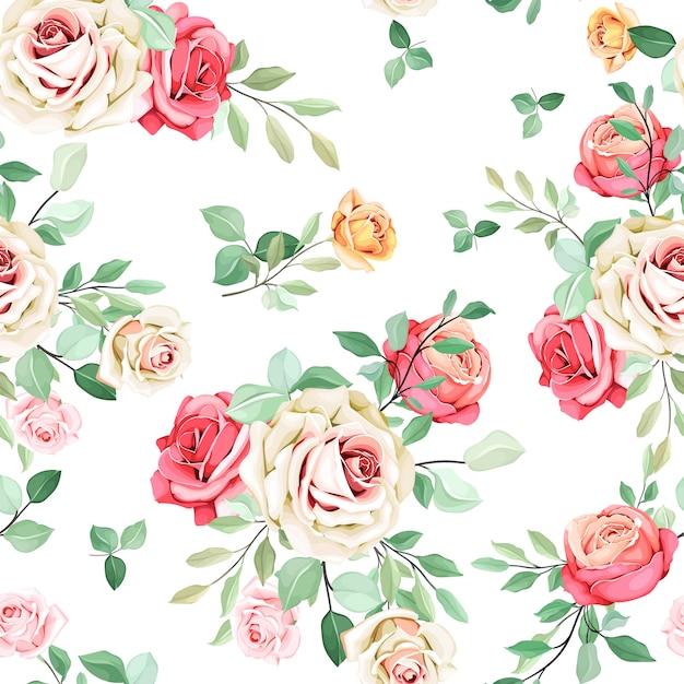 Hermoso diseño floral de patrones sin fisuras Vector Premium