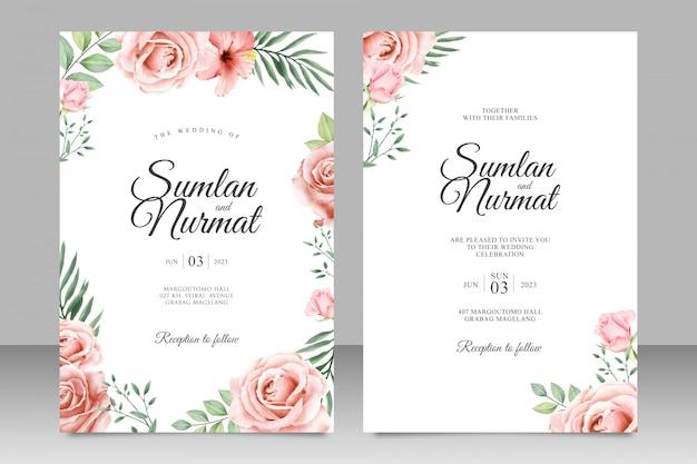 Hermoso diseño de invitación de boda floral Vector Premium