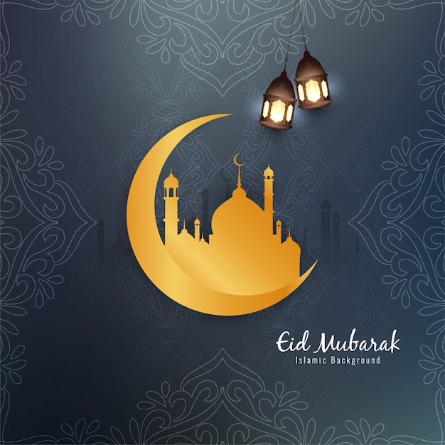 Hermoso diseño islámico de eid mubarak con luna dorada. vector gratuito