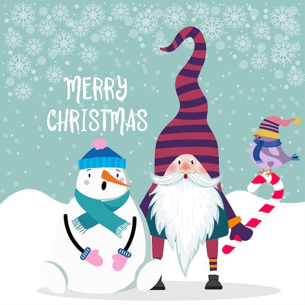Hermoso diseño plano tarjeta de navidad muñeco de nieve y gnomo. Vector Premium
