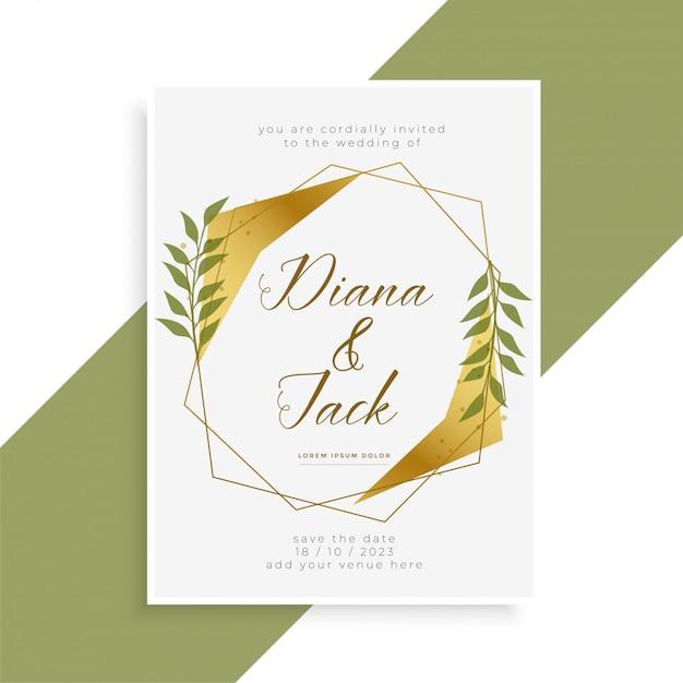 Hermoso Diseño De Tarjeta De Invitación De Boda De Oro