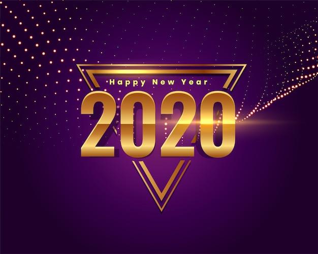 Hermoso feliz año nuevo fondo de texto dorado vector gratuito