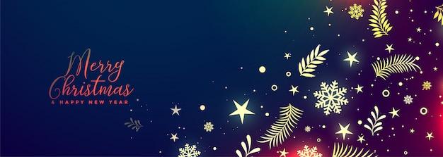 Hermoso feliz navidad bandera decorativa vibrante vector gratuito