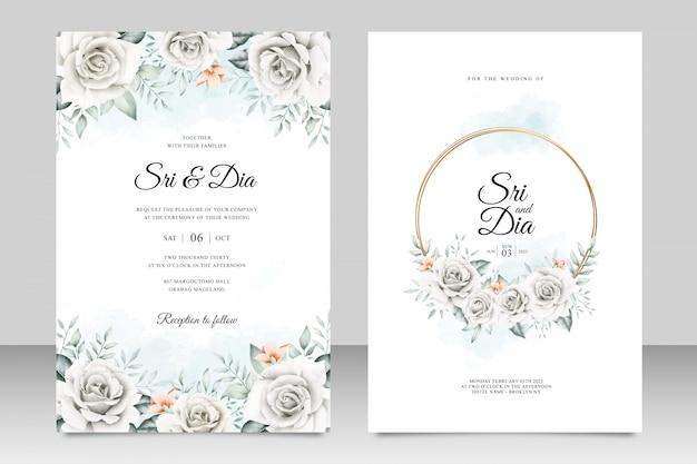 Hermoso floral en plantilla de tarjeta de boda Vector Premium