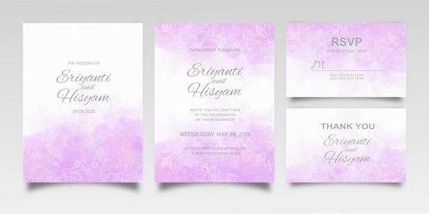 Hermoso fondo de acuarela de tarjeta de boda con salpicaduras y líneas florales Vector Premium