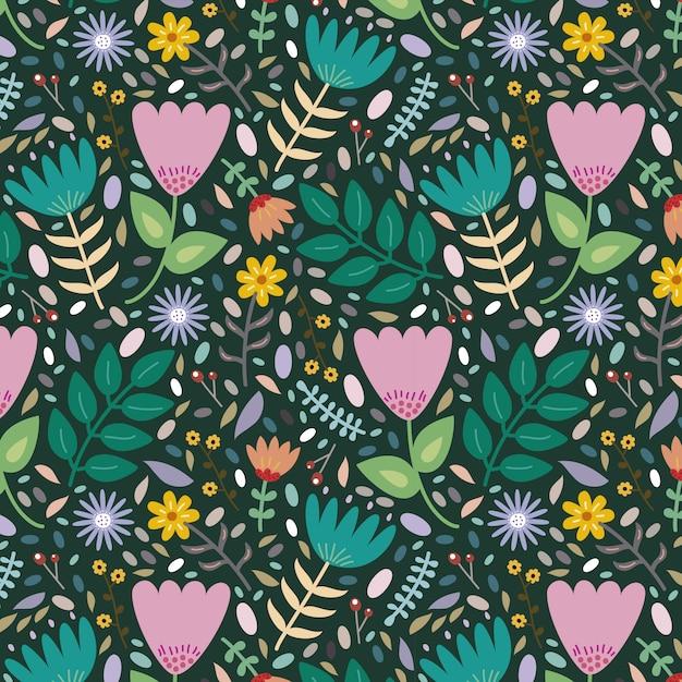 Hermoso fondo con diferentes flores y hojas. Vector Premium