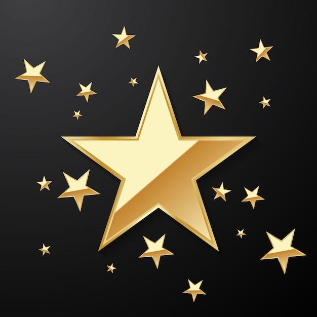 Hermoso fondo de estrella de oro dispuesto para decorar varias celebraciones Vector Premium