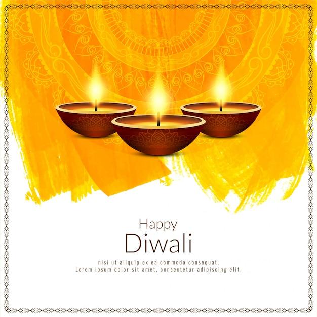 Hermoso fondo feliz festival de diwali amarillo vector gratuito